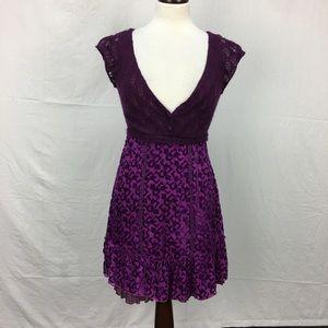 Free People Purple Knit/Velvet Boho Dress